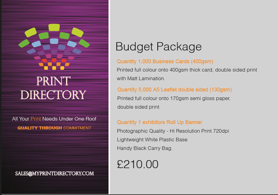 Print Directory Budget Package